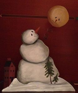 Snowman with moon