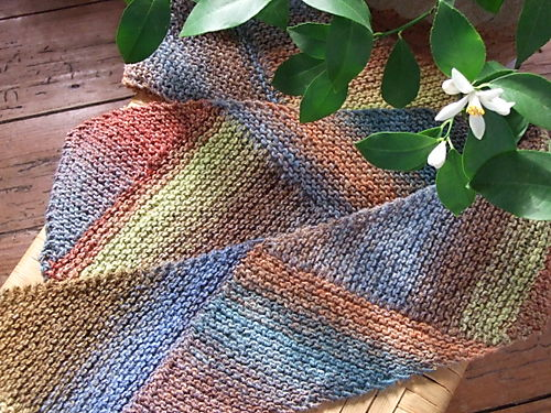 Multidirectional Diagonal Scarf knit with Noro Silk Garden.