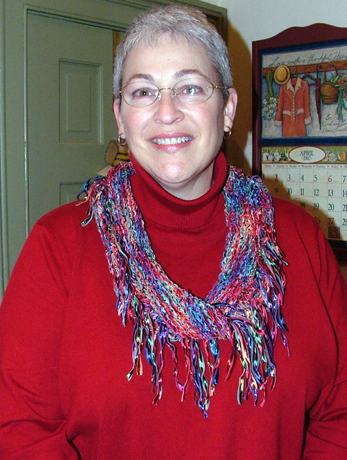 Moebius scarf knit with Ellyn Cooper ribbon.