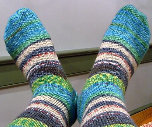 Socks knit with Opal sock yarn.