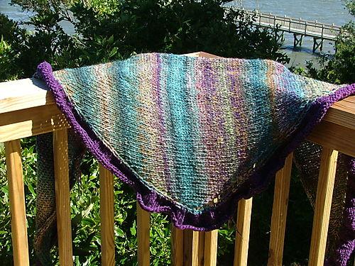 Sursa shawl knit with Noro Silk Garden with a Cash Iroha border.