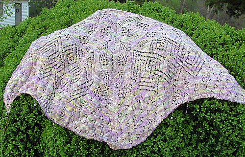 A Goddess Knits' Mystery Shawl for my mother knit in silk.