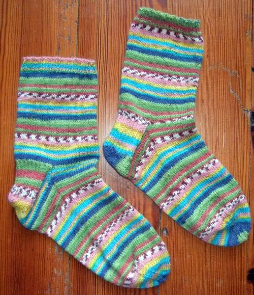 Socks knit with OnLine sock yarn.