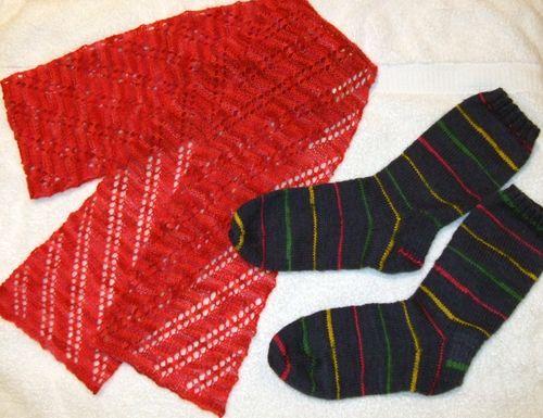 Malabrigo Laceweight Scarf - Fiber Trend Pattern; Socks with Swizzle Sock Yarn