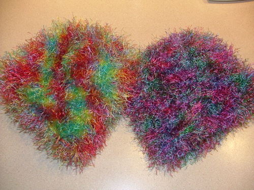 Fuzzy hats knit for a children's hospital charity project.