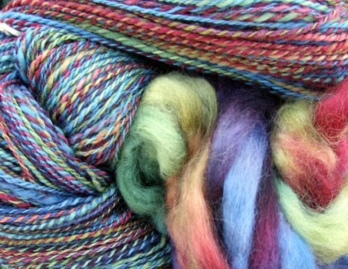 Yarn from beautiful jewel-tone roving.