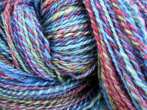 Approximately 700 yards of jewel-tone wool. Finished spinning September 2010.